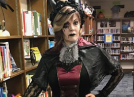 Vincent Librarian Celebrates Halloween