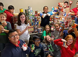 Students and Staff Gather Food Donations