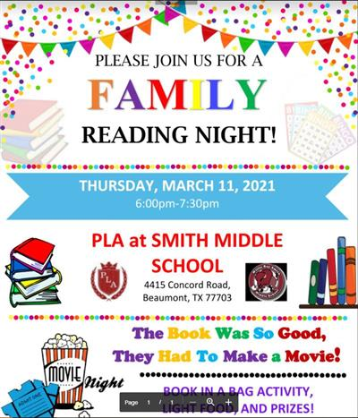 Smith Middle School Beaumont PLA Family Reading Night